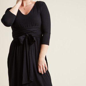 Modcloth Black Jersey Knit Wrap Tie Dress